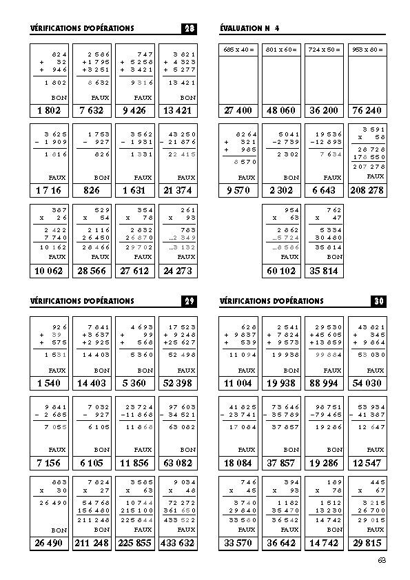 evaluation calcul mental ce2