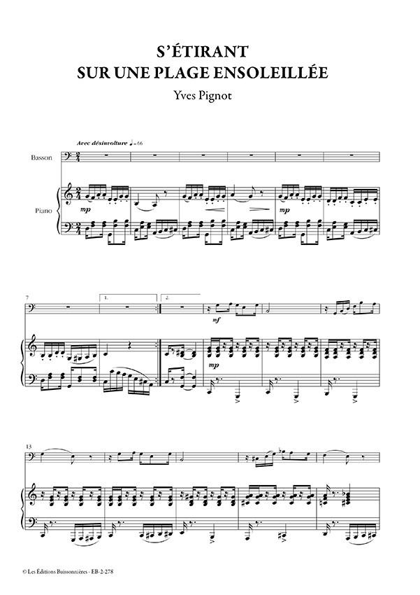 S'étirant sur une plage ensoleillée, pour basson & piano (Yves Pignot)