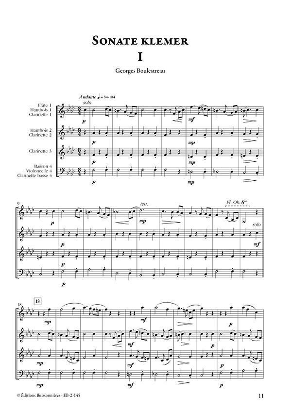 Musiques klezmer pour quatuor d'instruments à vent (volume 1)