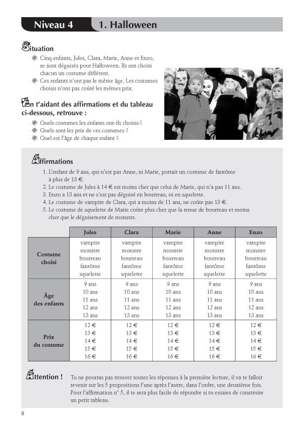 Jeux de logique au cycle 3 vol ii scop les editions for Tableau logique