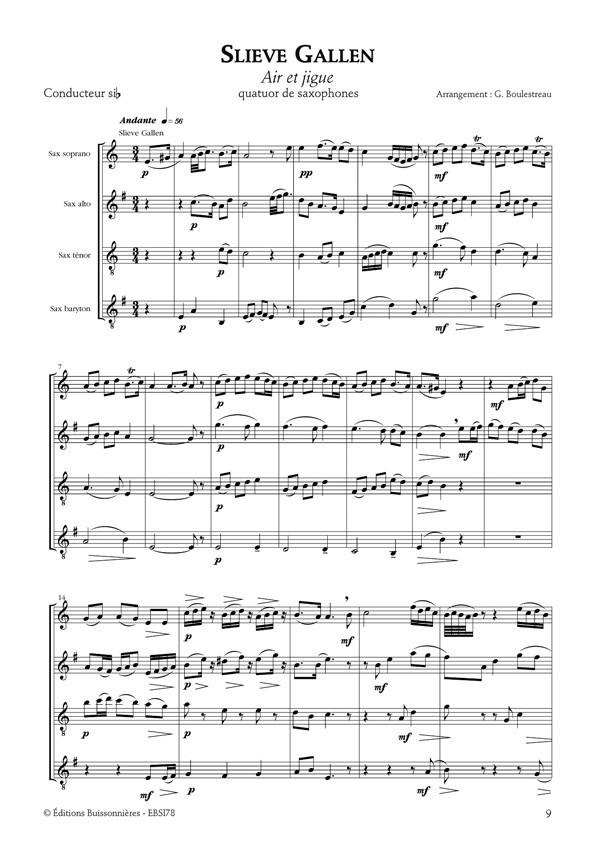 Trois suites irlandaises pour quatuor de saxophones