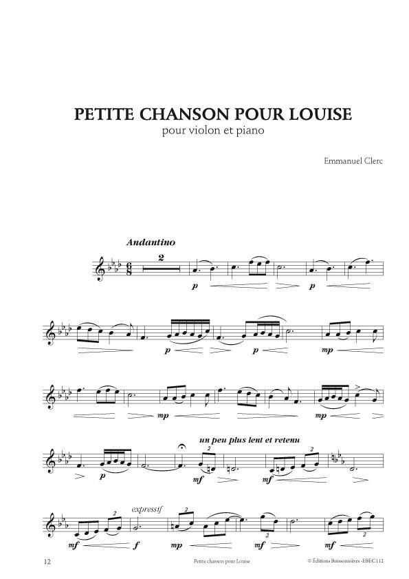 Emmanuel Clerc : Hommage à Chausson, 7 pièces pour violon (ou violoncelle) et piano