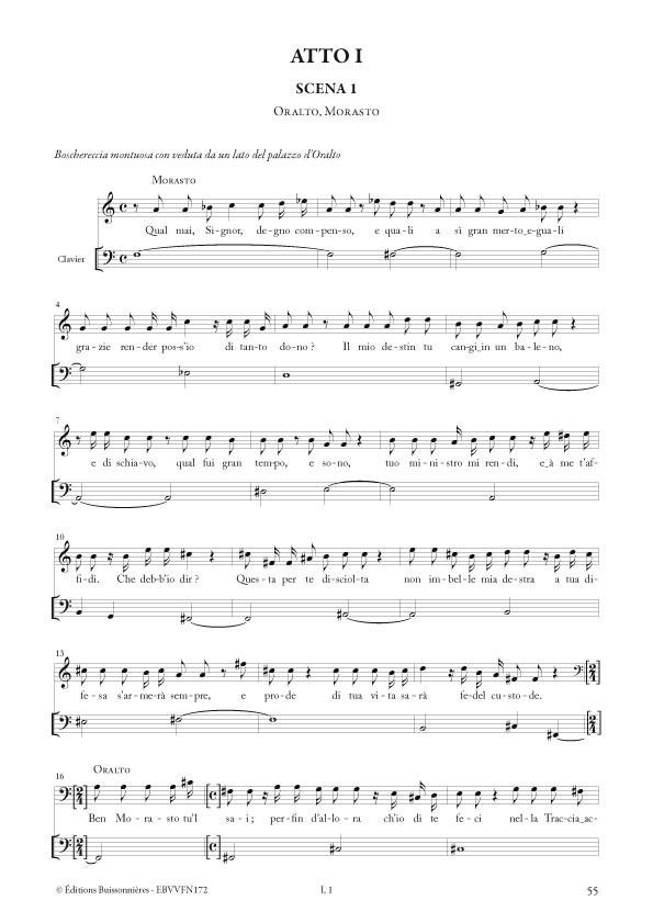 La fida ninfa (opéra de Antonio Vivaldi RV 714), chant et clavier