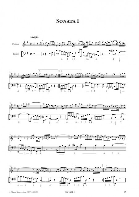 François Francoeur : Sonates à violon seul avec la basse continue, livre 1, sonates 1 à 10