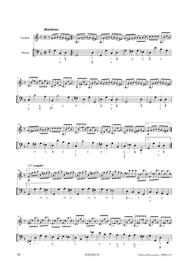 François Francoeur : Sonates à violon seul avec la basse continue, livre 2, sonates 1 à 6