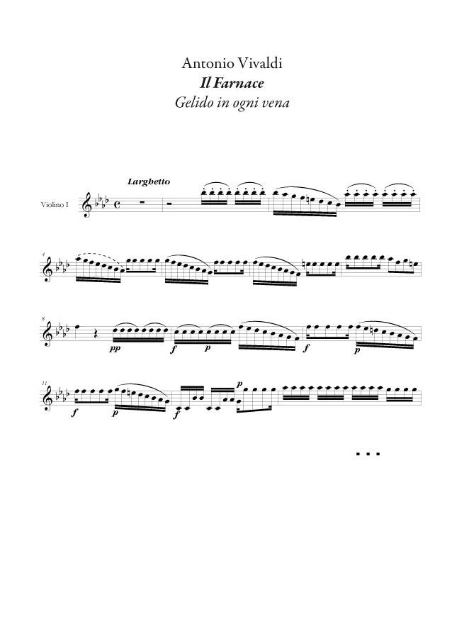 Vivaldi : Gelido in ogni vena (Farnace), conducteur et matériel d'orchestre