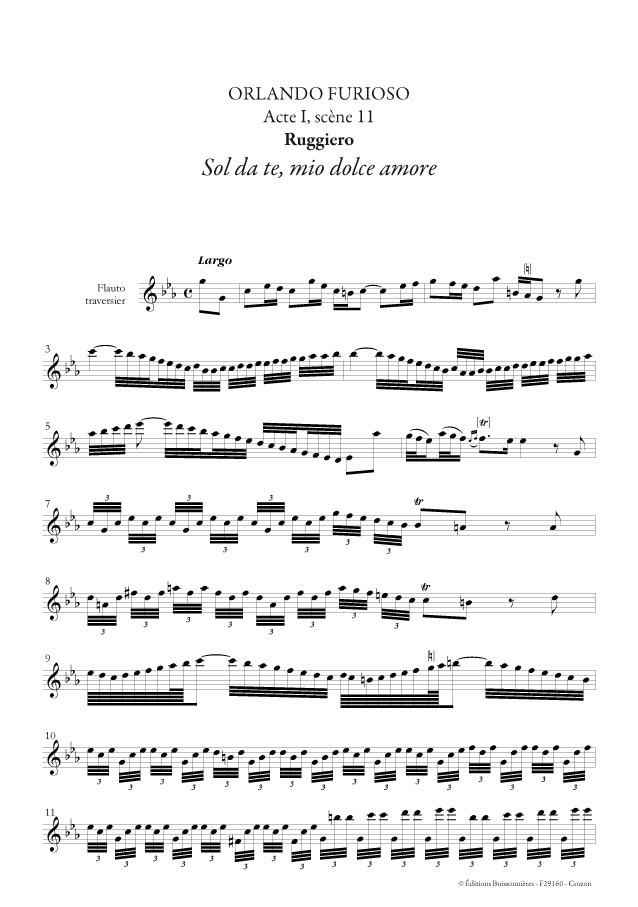 Vivaldi : Orlando furioso [I]Sol da te, mio dolce amore[/I] - matériel d'orchestre