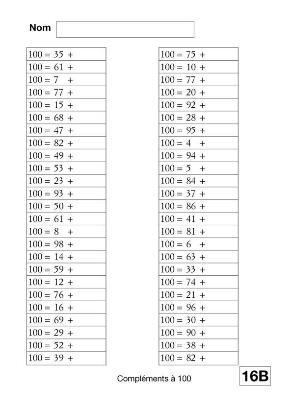 Le calcul mental au cours l mentaire scop les editions - Calcul cm1 a imprimer ...
