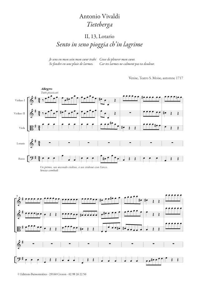 Vivaldi : Sento in seno ch'in pioggia di lagrime (Tietiberga), matériel d'orchestre
