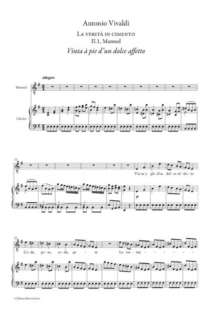 Vivaldi : Vinta a pie (La verità in cimento), chant et clavier