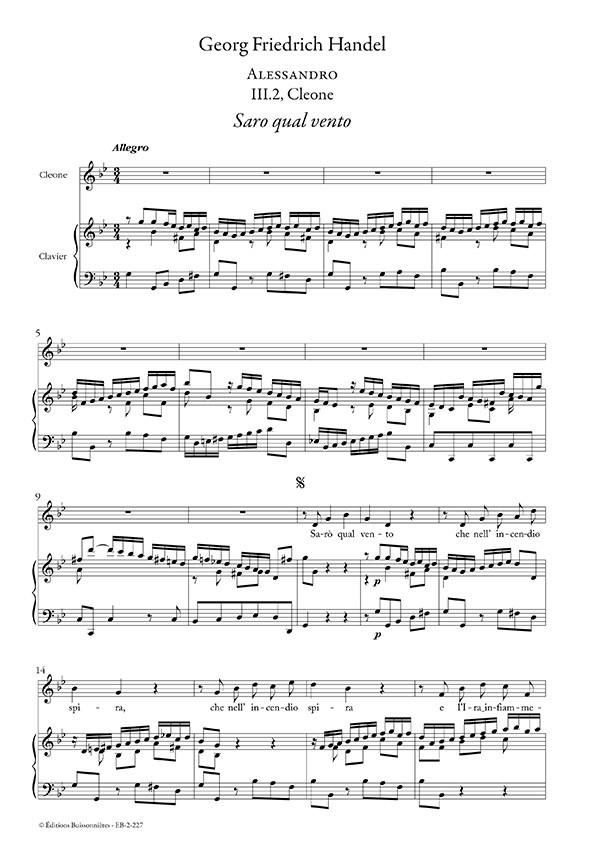 Handel : Saro qual vento (Alessandro), chant et clavier