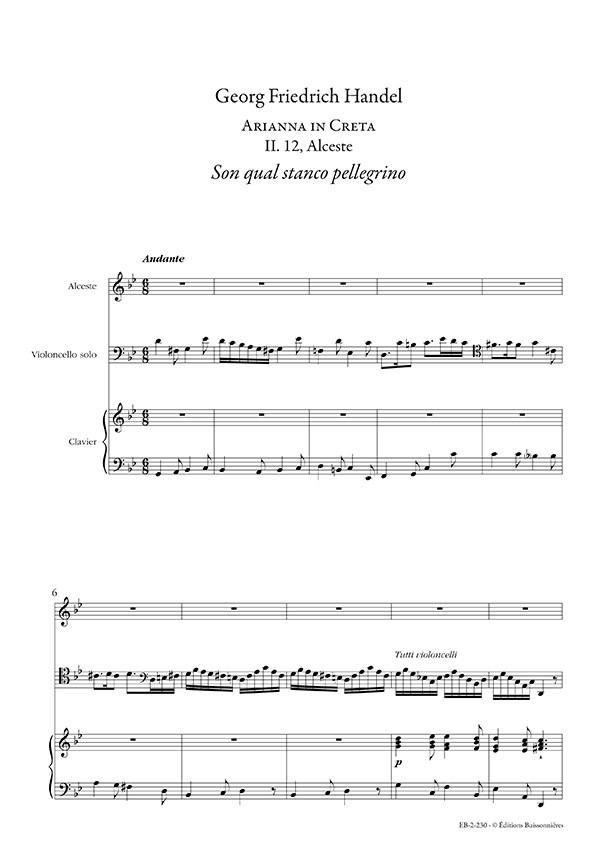 Handel : Son qual stanco pellegrino (Arianna in Creta), chant et clavier