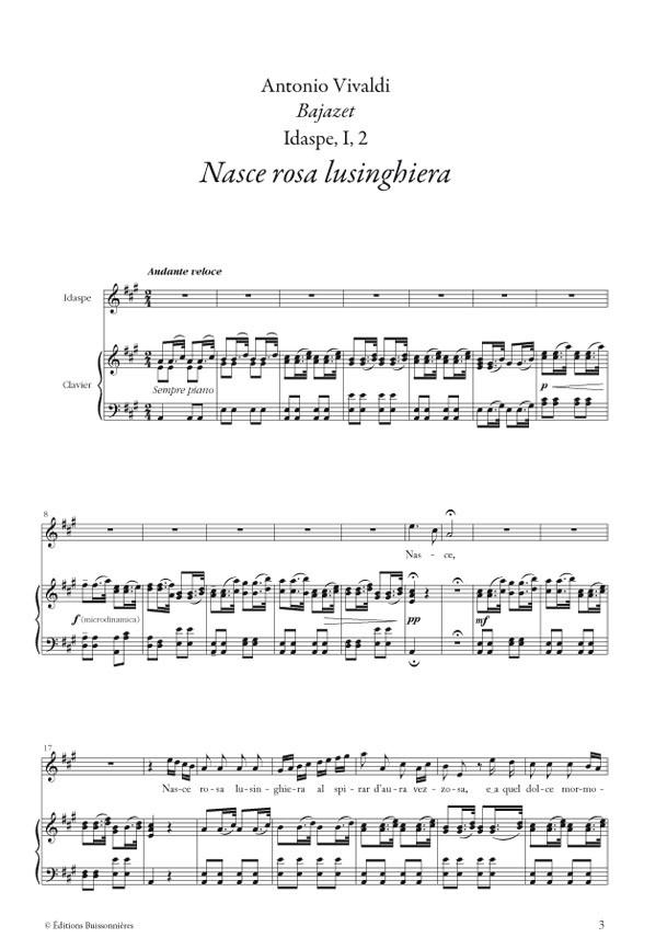 Nasce rosa, Vivaldi (Bajazet), chant et clavier (piano)