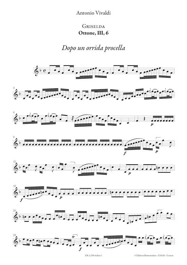 Vivaldi, Dopo un orrida procella (GRISELDA, III, 6), conducteur & matériel d'orchestre