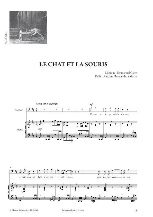 Emmanuel Clerc : Fables, pour baryton et piano