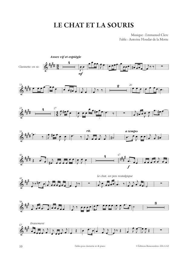Emmanuel Clerc : Fables, pour clarinette et piano