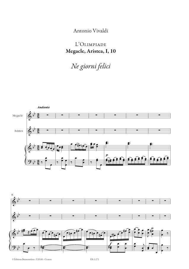 Vivaldi : DUO Ne giorni tuoi felici (Vivaldi, L'Olimpiade) Matériel d'orchestre