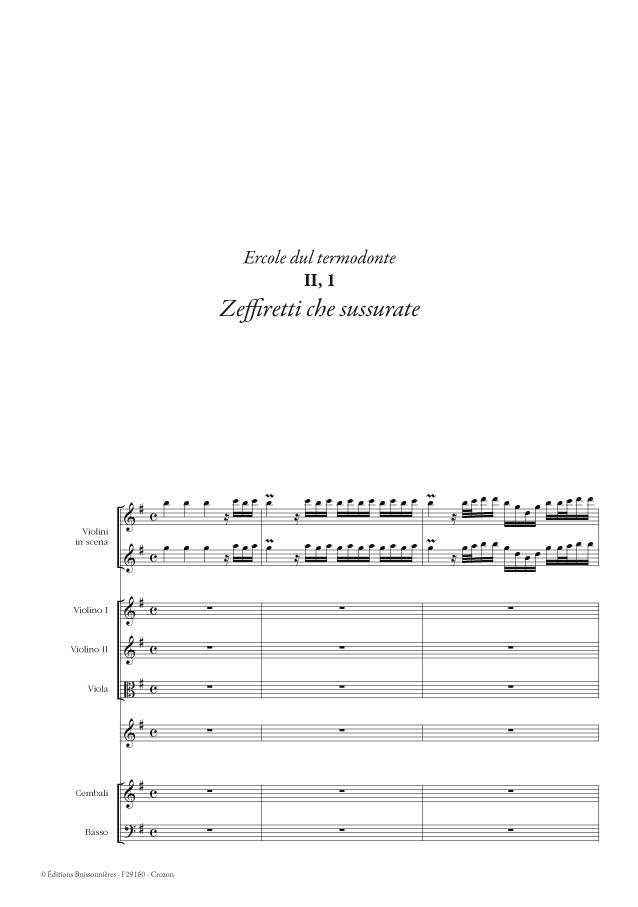 Vivaldi, Zeffiretti che susurate (Ercole sul termondonte, II, 1), conducteur & matériel d'orchestre