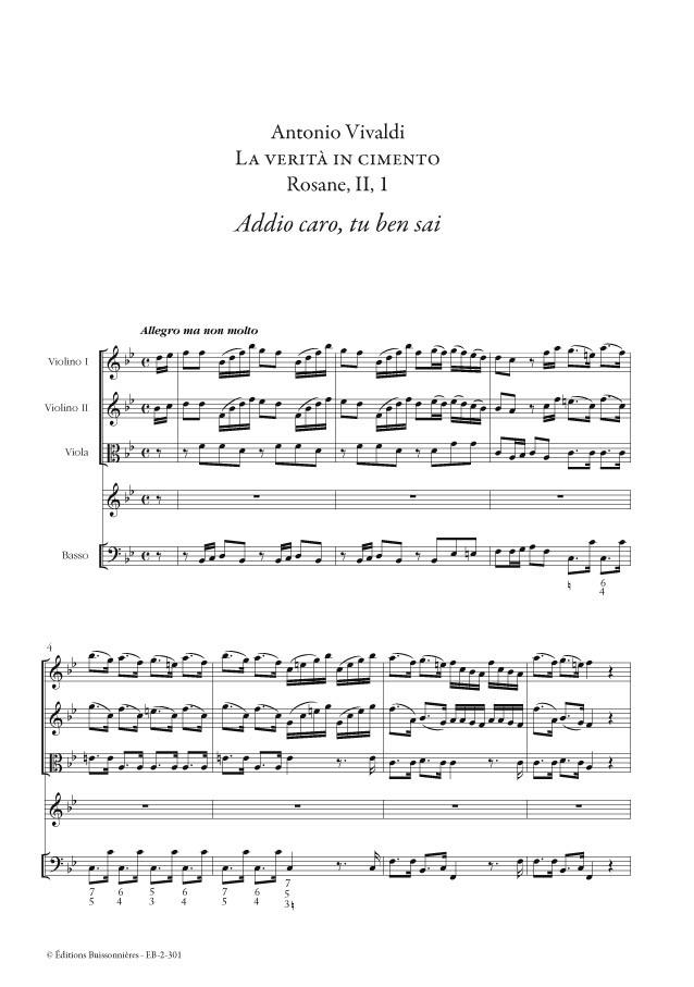 Vivaldi : Addio caro (La verita in cimento) Matériel d'orchestre