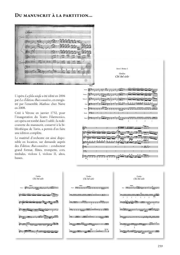 La fida ninfa (opéra de Antonio Vivaldi RV 714) matériel d'orchestre