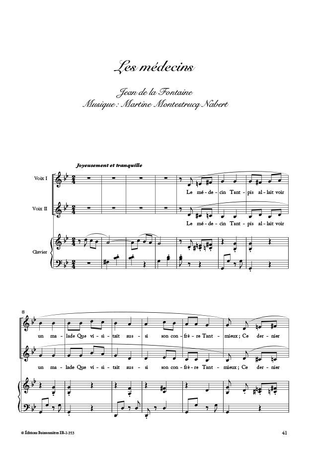CHANTEFABLES : huit fables pour piano & voix d'enfants, Jean de la Fontaine & Martine Montestrucq Nabert